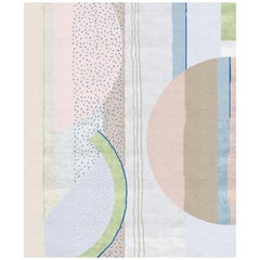 XI.II Contemporary Art Hand-Knotted Wool and Silk Large Rug by Angelina Askeri