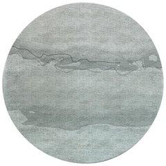 Brabbu Yagua Kreisförmiger Getufteter Tencel Teppich II in Aquamarintönen