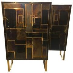 Pair of Italian Opaline Glass Cabinets Brass Fittings, 1980s