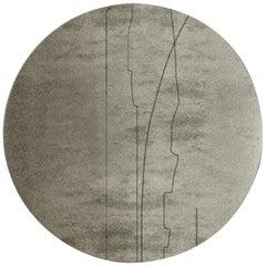 Brabbu Kalina Circular Tufted Tencel Rug II in Gray Gradient