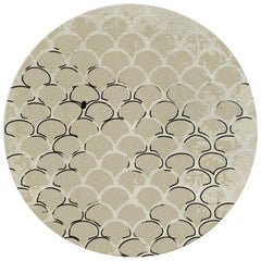 Brabbu Koi Circular Hand-Tufted Dyed Wool Rug ii in Sand with Scale Pattern