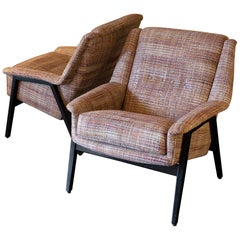 Pair of Italian Armchairs Black Lacquer Wood and Chanel Woven Fabric, circa 1950