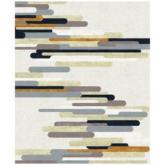 Rue Cler Contemporary Abstract Hand-Knotted Wool and Silk Large Rug