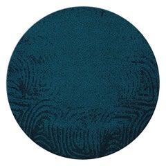 Brabbu Surma Circular Hand-Knotted Dyed Wool Rug ii in Midnight Blue