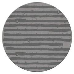 Brabbu Aymara Circular Tufted Tencel Rug II in Gray with Stripes
