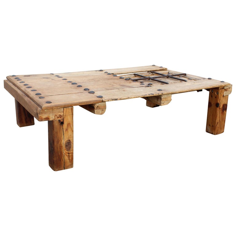 19th Century Spanish Wooden Door Turned Unique Coffee Table