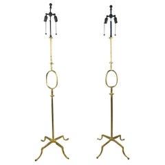 Designer Poillerat Mattaliano Pair of Gilt Iron Floor Lamp with Provenance
