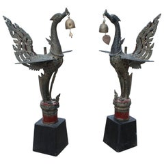 1980s Pair of Asian Bronze Garuda Mythical Hindu Birds on Wooden Bases