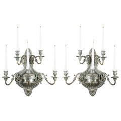 Pair of Nickel-Plated Five Branch Wall Sconces