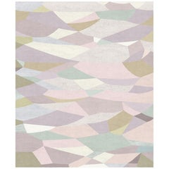 Le Marais Au Petit Matin Contemporary Abstract Pale Rose Wool and Silk Large Rug