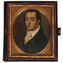19th Century English Painted Portrait in a Box Signed by Chester Dennery