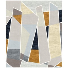 Galeries Lafayette Contemporary Abstract Hand-Knotted Ochre Wool and Silk Rug