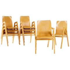 Rare Set of Eight Stockable Armchairs by Axel Larsson