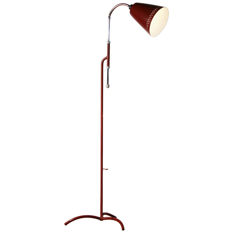 1950s, Metal and Brass Red Floor Lamp by Hans Bergström