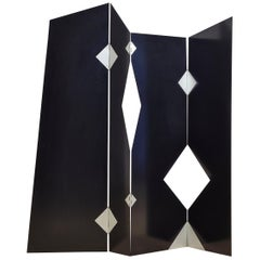 Black Painted Metal Italian Screen Designed by Bruno Munari for Zanotta, 1990
