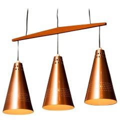 1950s, Copper and Teak Pendant Lamp by Hans-Agne Jakobsson, Sweden