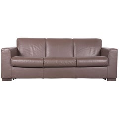 Natuzzi Designer Leather Sofa Three-Seat Couch Brown with Sleep Function