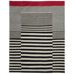 Modern Striped Rug, Black and White Kilim Rugs Carpet from Afghanistan