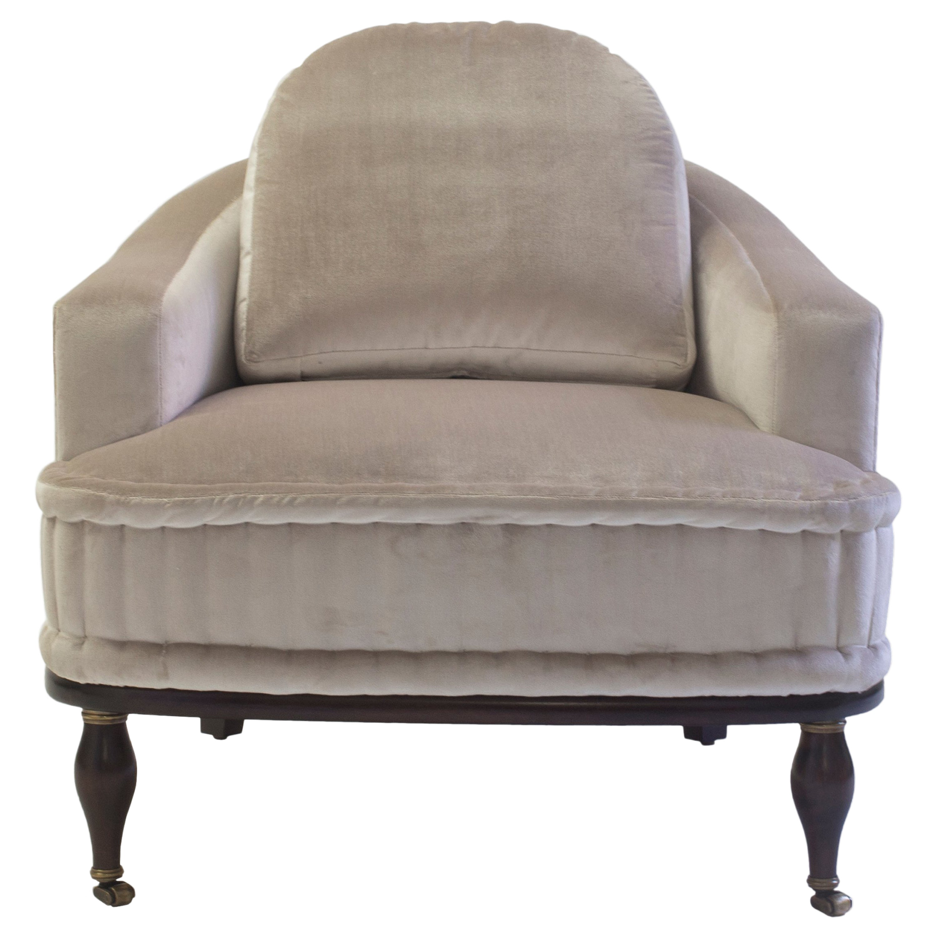 Club Chair with Loose Back Cushion and Hand Rolled Seat and Wood Turned Legs