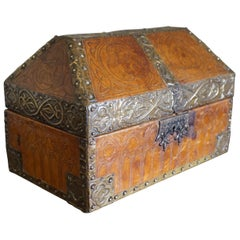 Antique Handcrafted Late 1800s Embossed Leather and Brass Gothic Revival Box