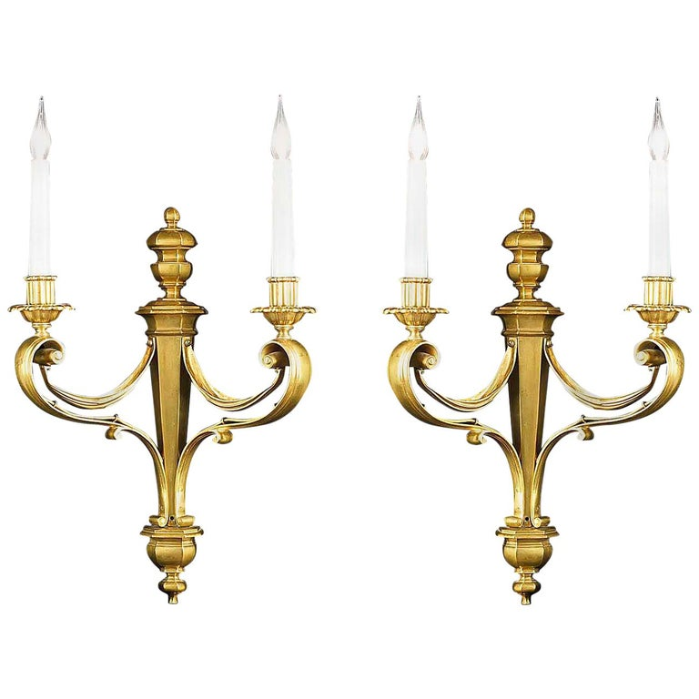 Set of Four Brass Twin Branch Wall Lights
