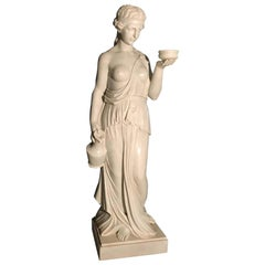Italian White Marble Neoclassical Sculpture of Goddess Hebe after Thorvaldsen
