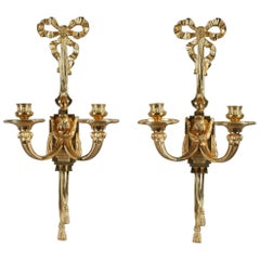 Late 19th Century Antique Candle Wall Sconces in Louis XVI Style