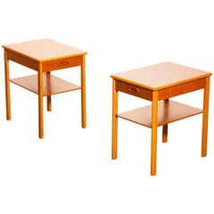 1950s, a Pair of Teak Bedside Tables by Säffle, Sweden