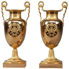Early 19th Century Empire Gilt Bronze Krater Centerpiece Vases