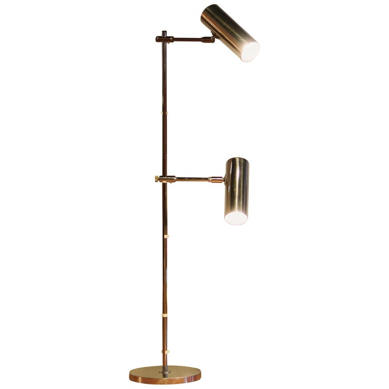 "1960s, Aluminium and Chrome ""Scan-Light"" Floor Lamp by Bergboms, Sweden"