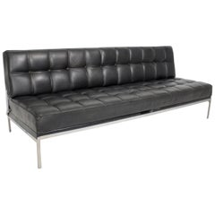 Black Leather Settee Constanze by Johannes Spalt, circa 1960, Vienna