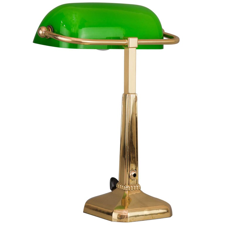 Art Deco Table Lamp with Green Shade