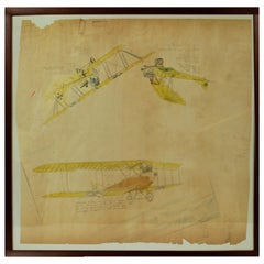 Drawing Depicting Three Different Biplanes WWI