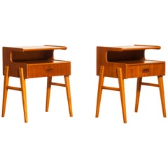 1960s Teak Pair of 'Model C' Bedside Tables