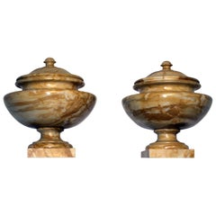 Neoclassical Italian Tuscany Marble Siena Yellow Pair of Urns