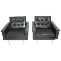 Black Leather Club Chairs by Johannes Spalt, Vienna, 1960 for Franz Wittmann