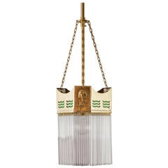 Art Deco Pendant 1920s with Glass Sticks and Green Glasses