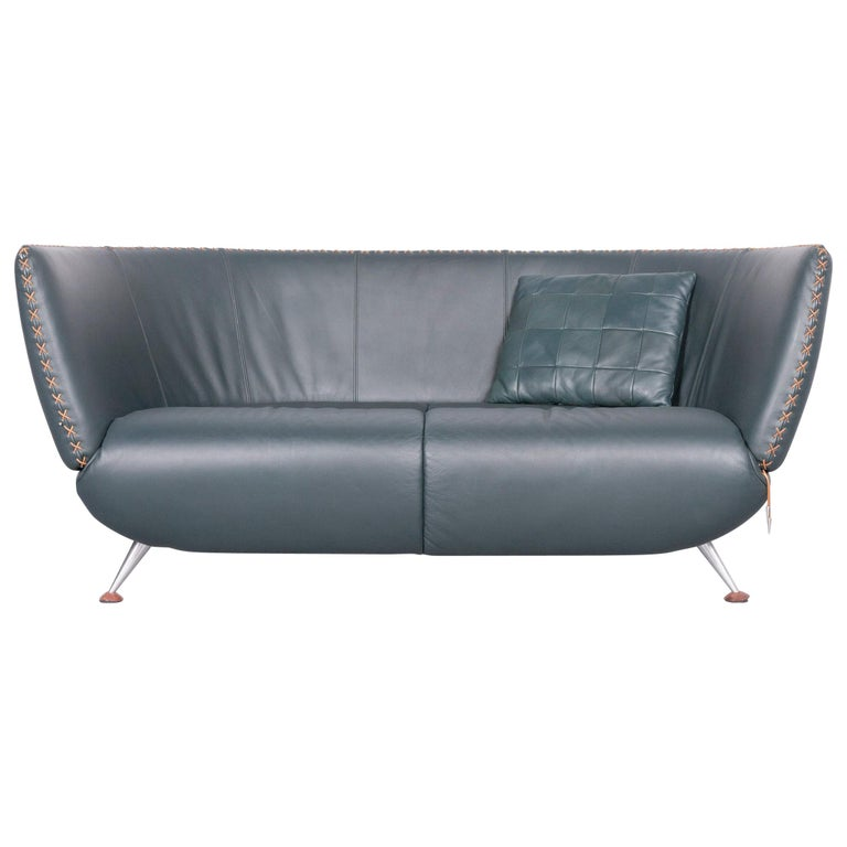 De Sede Ds 102 Designer Leather Sofa Green Two-Seat Couch