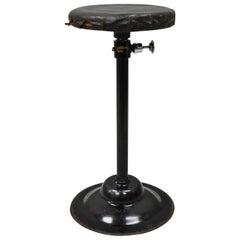 Articulating Industrial Modern Brown Leather Adjustable Work Stool by Peerless
