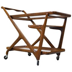 Mid-Century Modern Cesare Lacca Trolley with Serving Tray, 1960s