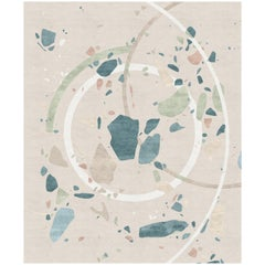 Jardin De Giverny Contemporary Art Blue Green and Ivory Wool and Silk Rug