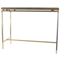 Mid-Century Modern Design circa 1980 Console in Brushed Brass with Marble Top