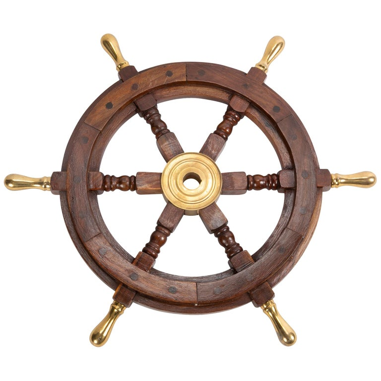 Large Wooden Ship's Wheel with Brass Accents