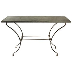 Wrought Iron Console with Marble Top, 19th Century, Period Napoleon III