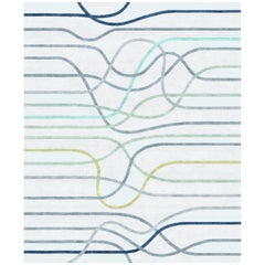 La Seine L'apres-Midi Contemporary Abstract Lines Pattern Wool and Silk Rug