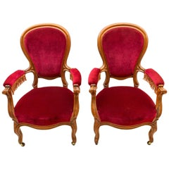 19th Century Louis Philippe Pair of Armchairs , Mahogany