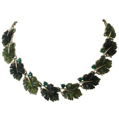 Vintage Emerald Oak Leaf Necklace by Lisner
