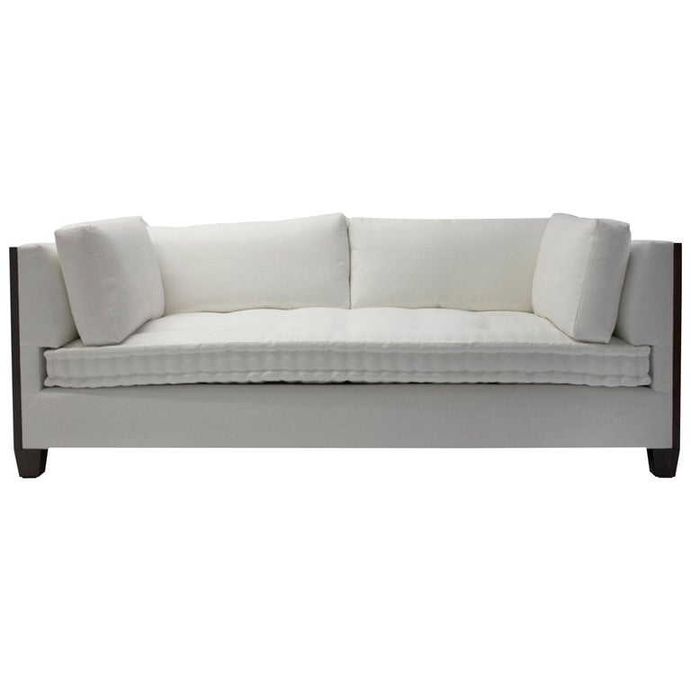 Custom Sofa with Wood Surround at Arms with Loose Back and Side Cushions