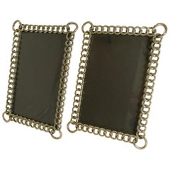 Pair of Antique English Polished Brass Ring Photograph Frames, circa 1890