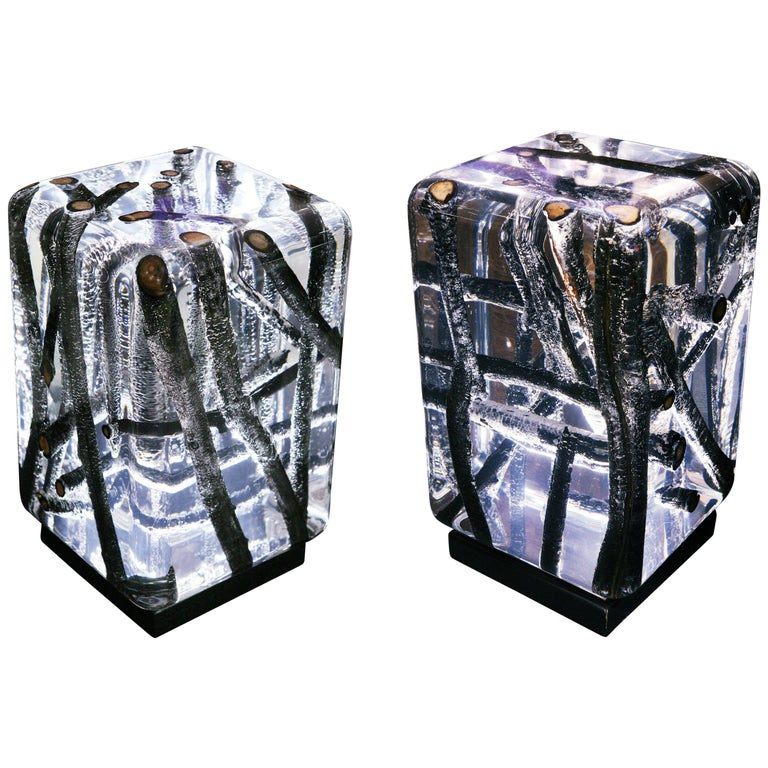 Kisimi Burnt Branches A and B Set of Two-Side Table Acrylic & Burnt Driftwood For Sale